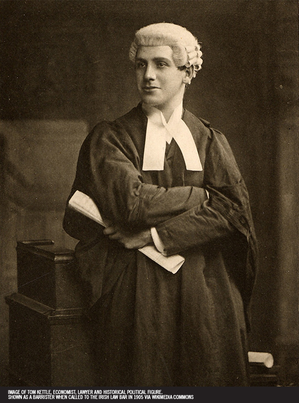 15. Image of Tom Kettle, economist, lawyer and historical political figure. Shown as a barrister when called to the Irish law bar in 1905 via Wikimedia Commons