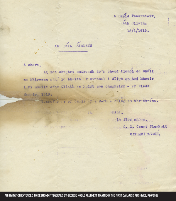 An invitation extended to desmond fitzgerald by george noble an invitation extended to desmond fitzgerald by george noble plunkett to attend the first dil ucd archives p80 653 ucd decade of centenaries stopboris Choice Image